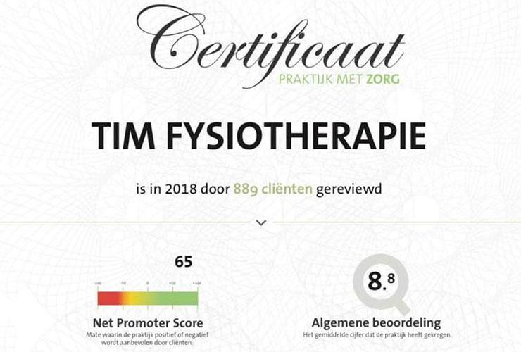 TiM Fysiotherapie certificaat